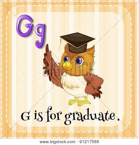 Flashcard alphabet G is for graduate