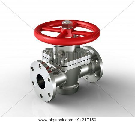 Red Valve Isolated On A White Back Ground