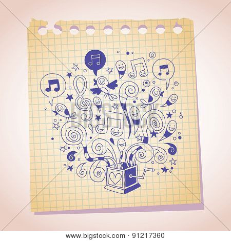 music box note paper cartoon sketch