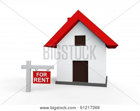 3d house with for rent sign board
