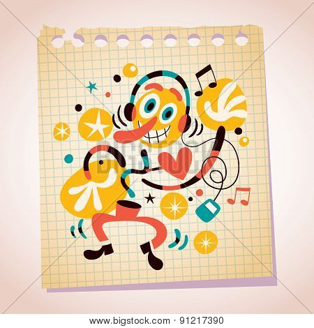 Abstract music fan with headphones note paper cartoon illustration
