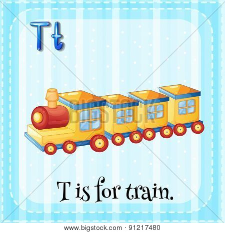 Flashcard alphabet T is for train