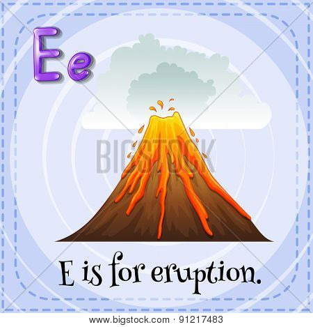 Flashcard alphabet E is for eruption
