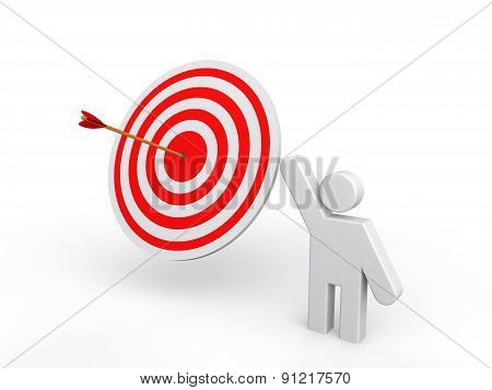 3D man showing target arrow