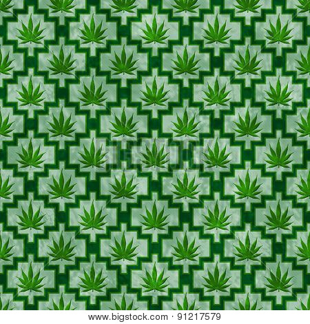 Green Marijuana Tile Pattern Repeat Background
