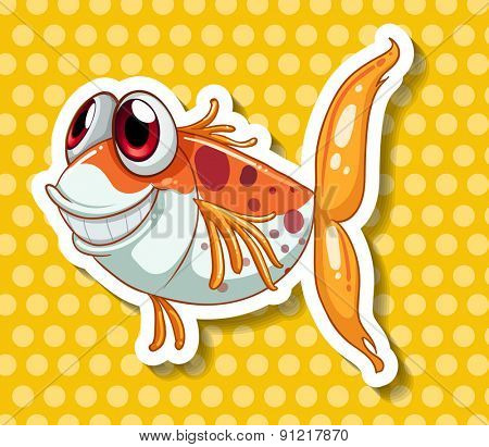 Funny fish smiling on yellow polka dot background