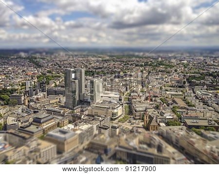 aerial view of Frankfurt am Main city centre, intentional tilt shift blur