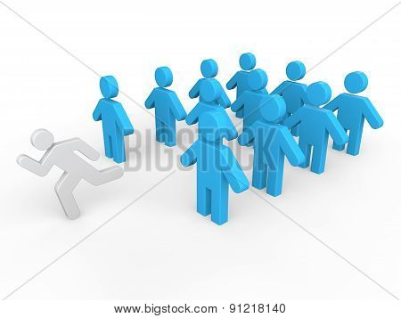 3d man leaving a group