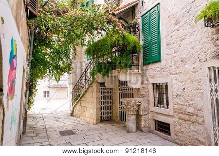 Narrow Streets In The Old City Of Split In A Mediterranean Style