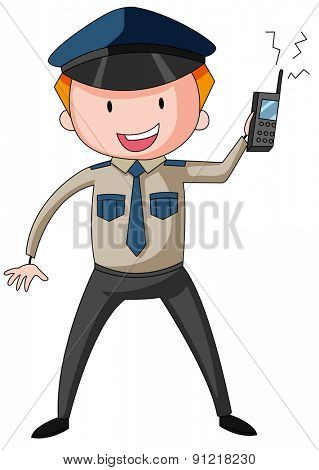 Security guard in uniform holding a walkie talkie in his hand