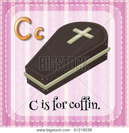 Flashcard alphabet C is for coffin