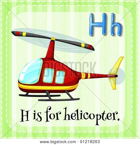Flashcard alphabet H is for helicopter
