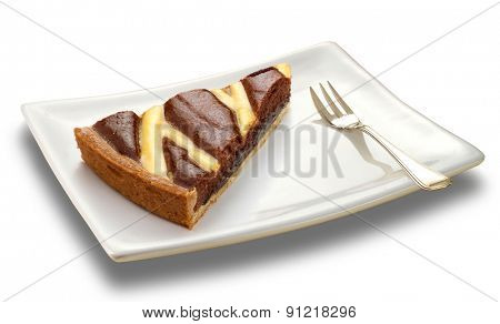 slice of chocolate cake on a white plate