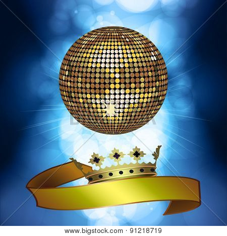 Disco Ball With Banner And Crown