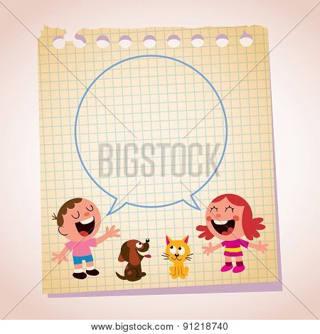 kids speech bubble note paper cartoon illustration