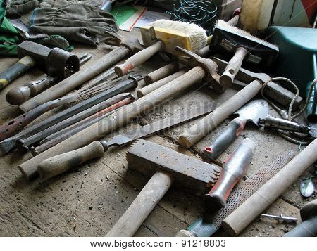 carpentry work tools on a wooden table
