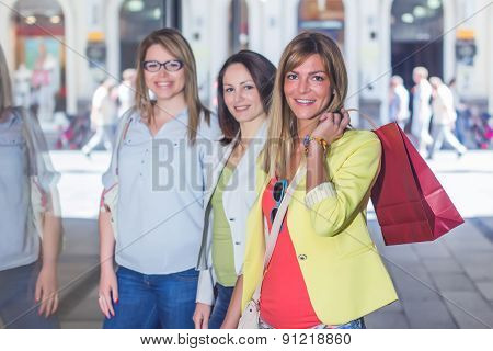 Happy Shopping Female Friends