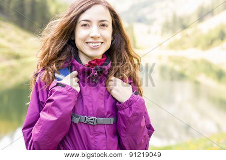 Woman On A Hiking Vacation