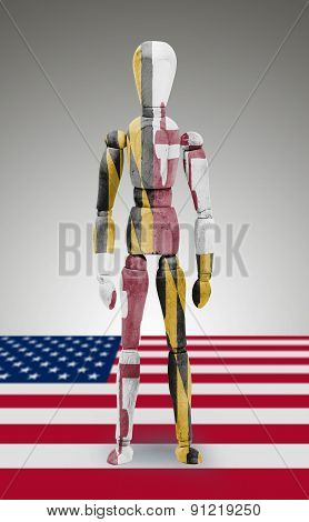 Wood Figure Mannequin With Us State Flag Bodypaint - Maryland