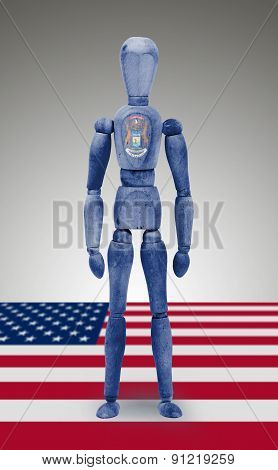 Wood Figure Mannequin With Us State Flag Bodypaint - Michigan