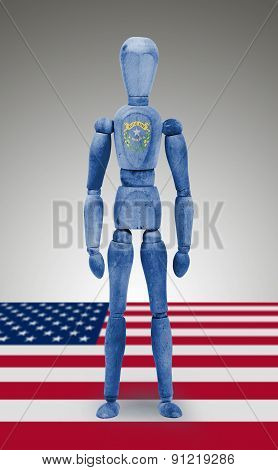 Wood Figure Mannequin With Us State Flag Bodypaint - Nevada