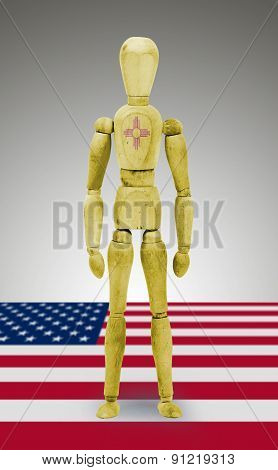 Wood Figure Mannequin With Us State Flag Bodypaint - New Mexico
