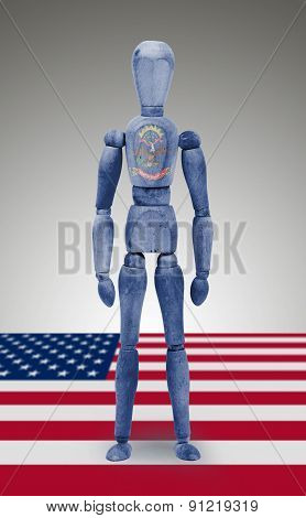 Wood Figure Mannequin With Us State Flag Bodypaint - North Dakota