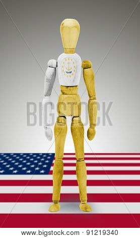 Wood Figure Mannequin With Us State Flag Bodypaint - Rhode Island