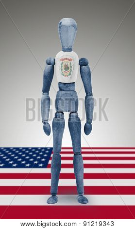 Wood Figure Mannequin With Us State Flag Bodypaint - West Virginia