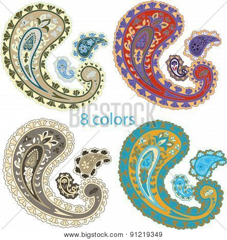 Traditional ornamental set. Paisley design