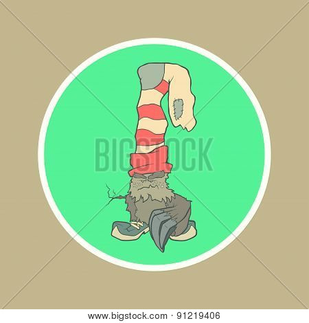 Vector illustration monster with a sock or stocking on his head