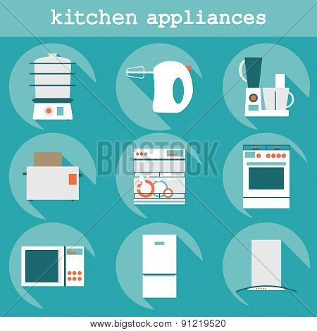 Set flat design icons of kitchen appliances with long shadow.