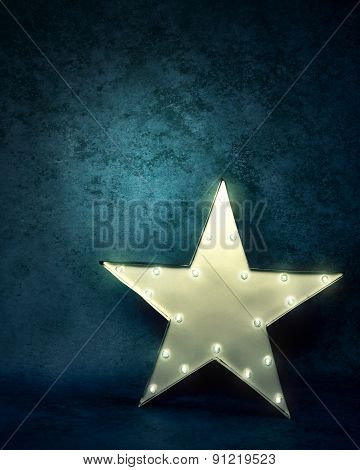 Star Light On Blue Textured Background