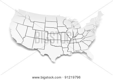 Paper map of USA with state borders
