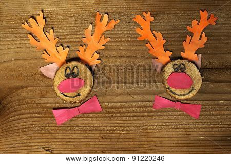 Funny Reindeers With Christmas Card
