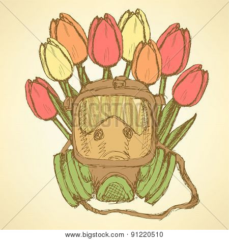 Sketch Respiratory Mask With Tulips