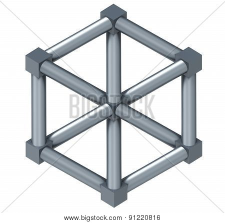 The Escher Cube Isolated On A White Background