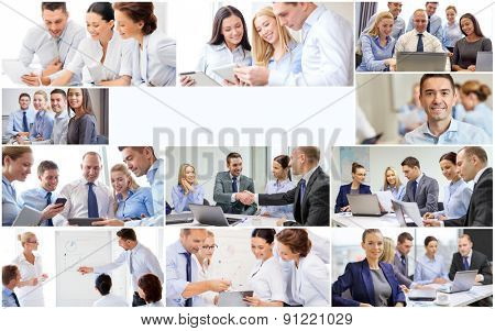 success concept - collage with many business people and copyspace