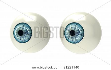 Two Eyeballs Isolated On White