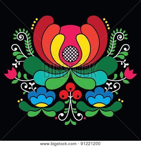 Norwegian folk art pattern - Rosemaling style embroidery on black