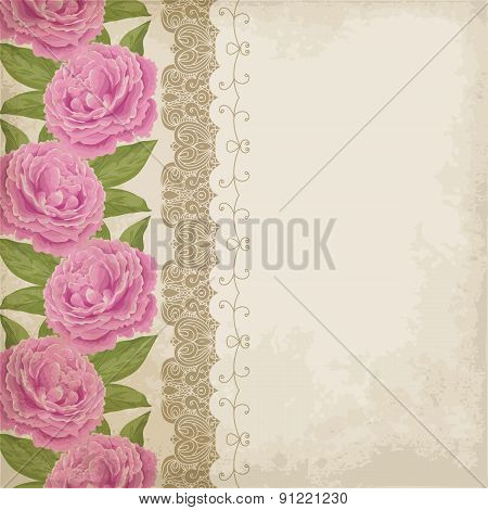 Old Paper Background With Peonies