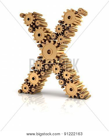 Alphabet X formed by gears