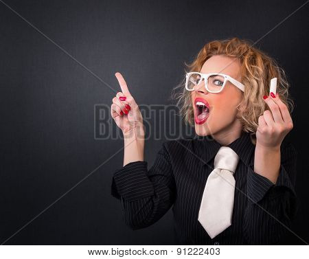 Angry Professor Woman In Front Of Blackboard Is Ready For Writing