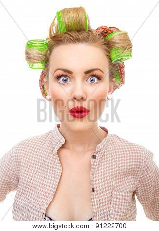 Close-up Portrait Of Surprised Funny Pin-up Girl With Big Eyes, Isolated On White