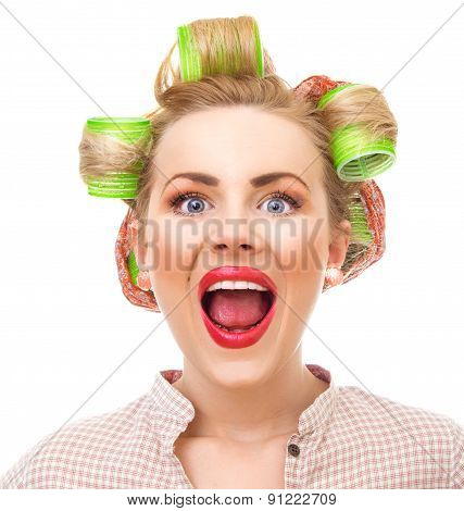Funny Pin-up Girl Screaming, Close-up Portrait Isolated On White. Old / Retro Style Portrait - Shake