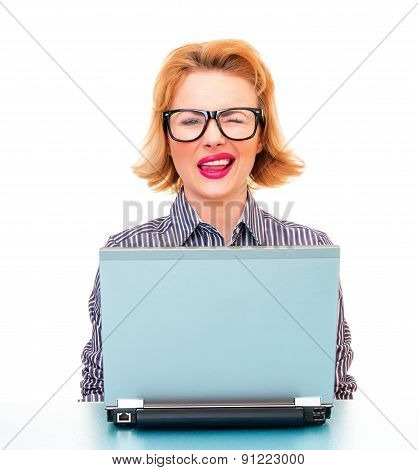 Funny Business Woman Wink And Wearing Old Fashioned Eyeglasses, Isolated On White