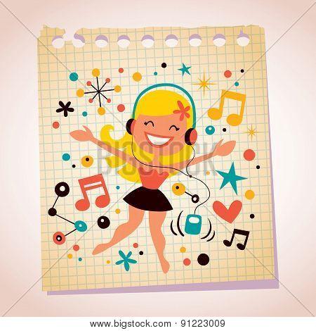 Pretty girl listening music note paper cartoon illustration