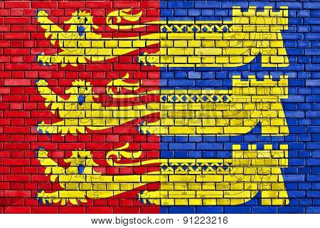 Flag Of Cinque Ports Confederation Painted On Brick Wall