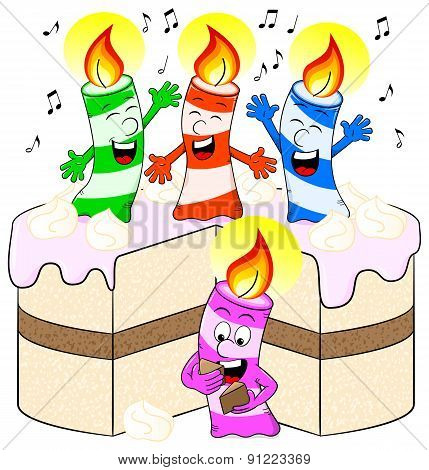 Candles On Cake Celebrate Birthday