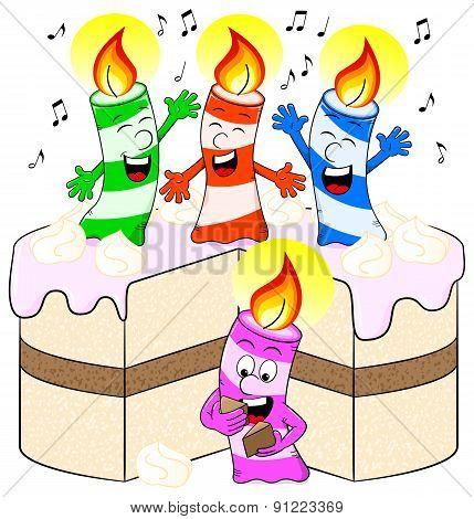 Candles On Cake Celebrate Birthday
